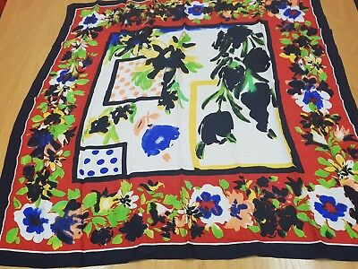 Milana Italian large square vintage silk scarf, red/blue/lime/navy/yellow flower