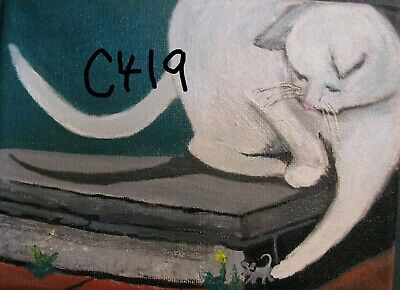 "C419  Original Acrylic Painting by LJH       ""CAT & MOUSE"""