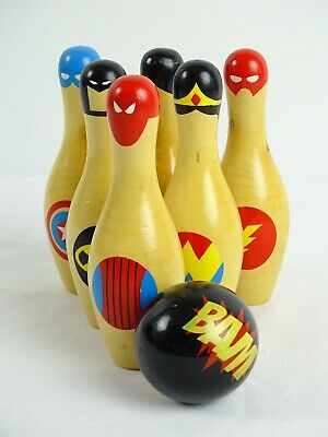 Fun indoor Tenpin Bowling Set by Newbies Super Skittle Toy - Super heroes