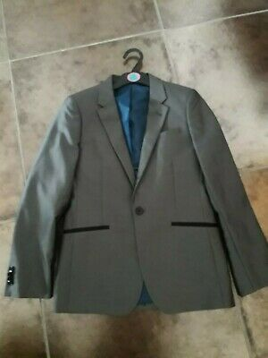 Boys Tailored Dark Grey with Silver sheen Formal Jacket By Matalan - Age 12