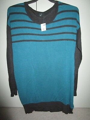 Ladies Patch Maternity Colour block long sweater jumper  Size Large