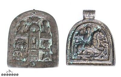 12th - 14th Century Medieval Bronze Icon Book Mount & Pendant