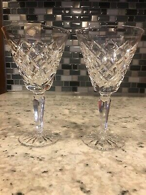 "WATERFORD Irish Crystal TYRONE  PATTERN CLARET WINE  GLASS 7"" High/  Set of 2"
