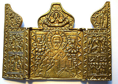 "RUSSIAN ORTHODOX ICON ""Saint Nicholas"", triptych, handmade, copper alloy."