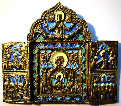 """RUSSIAN ORTHODOX ICON """"Mother Mary, triptych"""", handmade, copper alloy, enamel."""