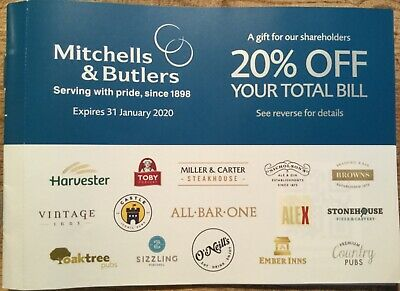 Mitchells and Butlers  20% off your total bill discount voucher