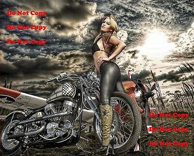 Harley Davidson Motorcycle Airplane Man Cave SIGN Pinup Girl 8X10 Photo Picture