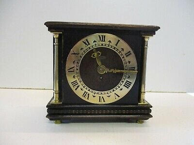 Smiths Smal Oak Case And Brass 8 Day Mantel Clock