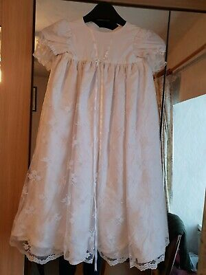Hand made long white baby christening dress. Pit to pit 12""