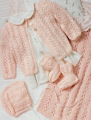 Knitting Pattern-Baby Layette up to 6 months Blanket/ Cardigan/Hat/Booties P0328