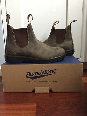 7a0963f3a1d BLUNDSTONE MENS 584 Rustic Brown Leather Pull On Ankle Boots Shoes ...