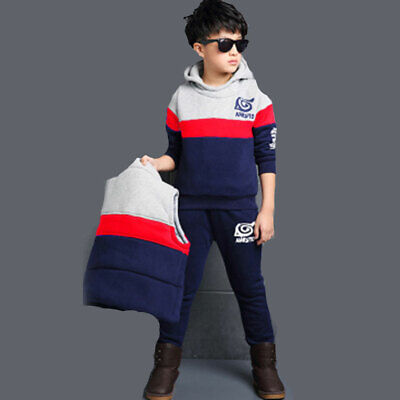 Boys Set Of 3  Tracksuit Sport Soft Warm Printed Long Sleeve Hooded 4-10 Years