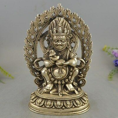 Exquisite Buddhism Tibet Silver Seat Jambhala Wealth God Buddha Backlight Statue