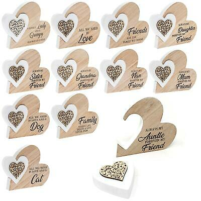 Sentiment Double Wooden Heart Plaque Ornament Family Friends Siblings Pets Gift