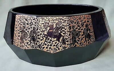 Fine quality large Cobalt Blue Bowl with Gilt Warrior Freeze, by MOSER