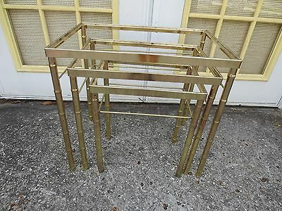 Faux bamboo 3 Nesting End Tables Metal Gold Hollywood Regency Mid-century Modern