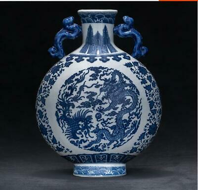 """12.2"""" Exquisite product Chinese Handmade blue and white porcelain dragon vase RT"""