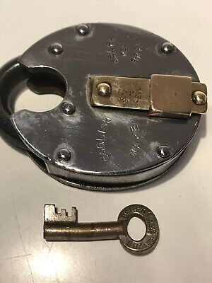 Large Vintage English Belfry Steel And Brass Padlock And Key