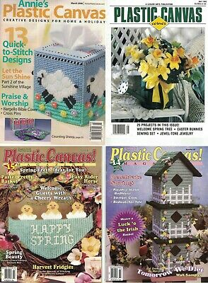 Lot of 15 Plastic Canvas pattern chart magazines includes Easter Spring