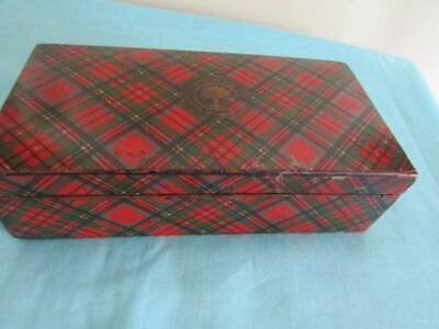 Antique Prince Charlie Tartan Ware Sewing Box Label CA Rickards Ltd Leeds Silk T