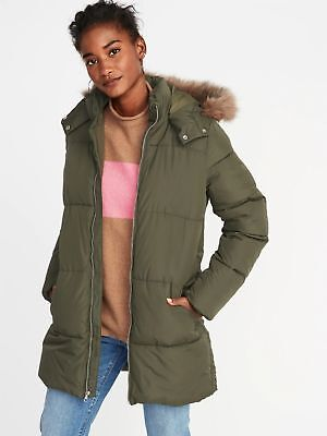 794bf60fa0df7 Old Navy Hooded Frost Free Long Jacker Parka Coat Olive NWT L Large