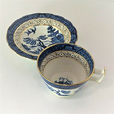 Booths Pre-A8025 Era Real Old Willow CUP SAUCER Antique Silicone China England