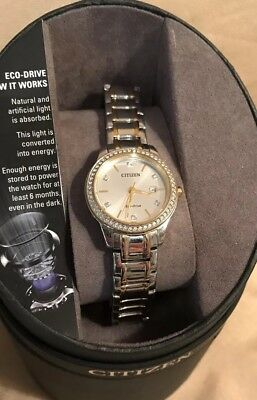 $295 CITIZEN Eco-Drive  Women's  28mm Crystal Accent  Two-Tone  Watch FE1174-50A