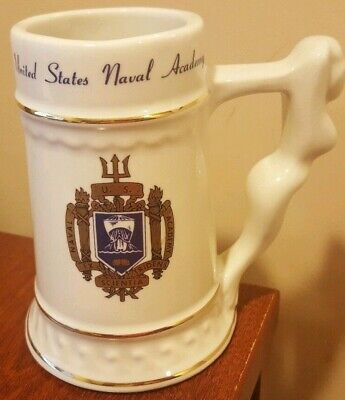 United States Naval Academy  MERMAID HANDLE Gold Trim Ceramic Stein  HEAVY STEIN