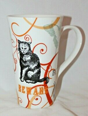 222 Fifth THE FOREST Tall Latte Coffee Mug Cup Cat Beware Boo Bug Halloween