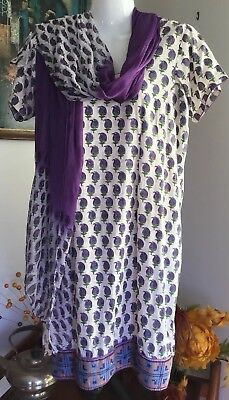 Retro Mauve floral ivory sequin ethnic Scarf Tunic Indian 2 piece Set M