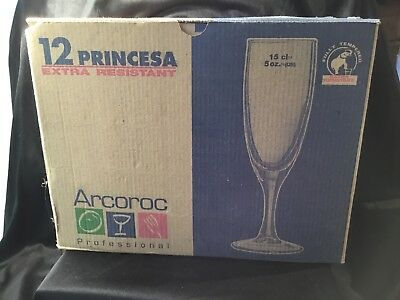 Arcoroc professional caterer Princesa Champagne Flutes 150ml Boxed 12 NWOT
