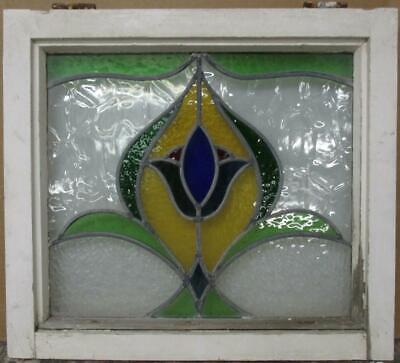 "MID SIZED OLD ENGLISH LEADED STAINED GLASS WINDOW Stunning Floral 23.5"" x 21.25"""