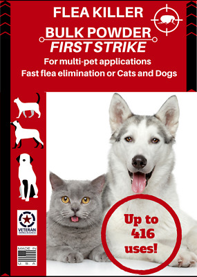 Flea Killer fast acting powder 200 oral applications for cats and dogs all sizes