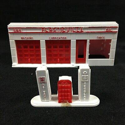 Gas Station Small White Background Window for Plasticville HO Gauge PL108