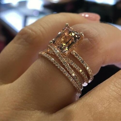 Women Alloy Rose Gold Rhinestone Silver Plated Ring Engagement Jewelry Size 6-10