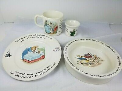 VINTAGE PETER RABBIT 4 Piece NURSERY SET Cup Plate by WEDGEWOOD BEATRIX POTTER