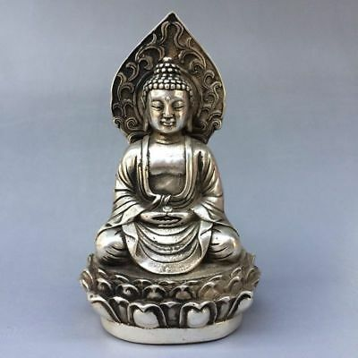 Exquisite china old plating TIBET silver Handwork carved KWAN-YIN Buddha Statue