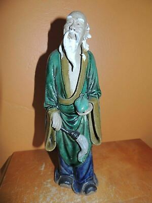 "Chinese Mud Man Men 10"" Green/ Blue fan&fruit Mudman missing hat Antique Vintage"