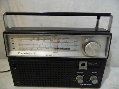 VTG Realistic Portavision-5 AM/FM UHF Radio TV Receiver Model 12-765 Portable