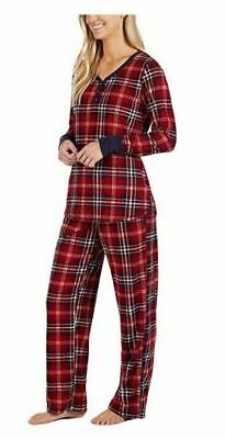 Nautica Womens 2 Piece Fleece Pajama Sleepwear Set Sz M Red Free Shipping NWT
