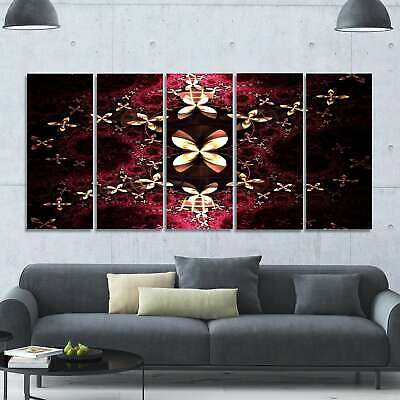 Designart 'Yellow Red Fractal Flower Pattern' Abstract Wall Art on Canvas