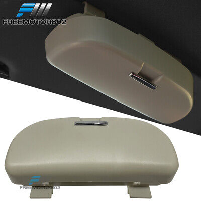 Universal Beige Sunglasses Case Storage Sun Visor Clip Holder Mounted Box