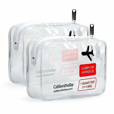 Cableinthebay TSA Approved Clear Travel Toiletry Bag Quart Sized Zipper 2 PACK