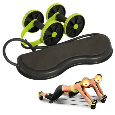 Core Double Wheels Roller Abdominal Power Roll Trainer Waist Slimming Exercisers