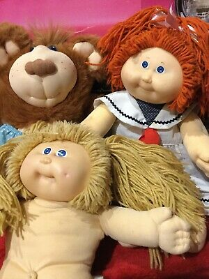 Bulk Lot Vintage 80s Cabbage Patch Kid Doll,red Hair,fur Skin Bear,blonde,dimple