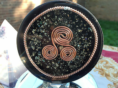 Tensor Ring, Triskelion & Shungite Orgone Water Structuring Coaster.