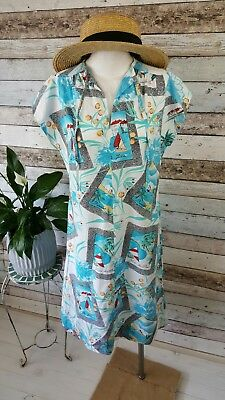 Vintage Retro Beach Surf Casual Quirky Handmade Dress Size Small 8 - 10