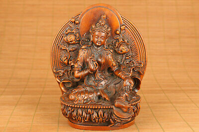 antique chinese old boxwood hand carved kwan-yin statue figure collectable