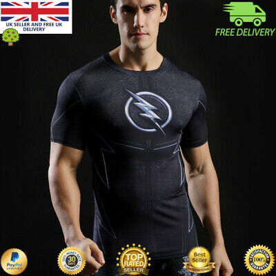 Mens t-shirt compression gym superhero avengers marvel muscle The Flash MMA BJJ