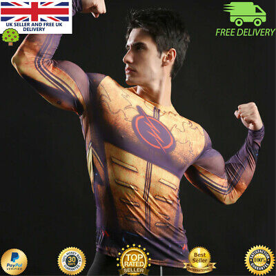 Mens compression gym superhero avengers marvel muscle The Flash MMA BJJ